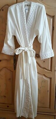 Vtg. Women's Christian Dior Plush Quilted Satin & Lace Long Robe Loungeware Sz L