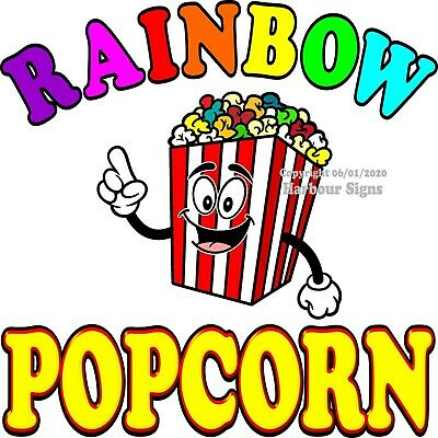 Rainbow Popcorn DECAL (Choose Your Size) Concession Food Truck Sticker
