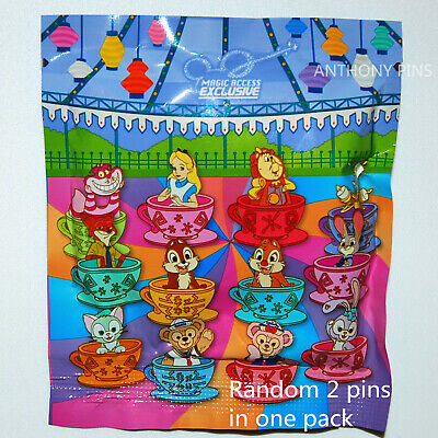 Disney Pin Hong Kong HKDL 2017 Mad Hatter Tea Cups Bag Random 2 Pins New