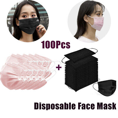 100Pcs 3Ply Disposable Face Mask Protective Nose Anti Dust Face Cover Black+Pink