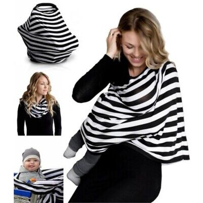 Multi-Use Car Seat Cover Striped Canopy Nursing Cover Baby Carrying Cloth Cover