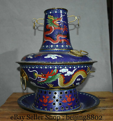 """16.4"""" Old China Cloisonne Copper Dynasty Palace Dragon Chafing Dish Chaffy Dish"""