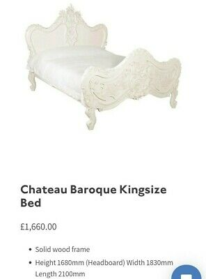 Chateau Baroque Antique Kingsize Real Wood Bed French style RRP: £1660