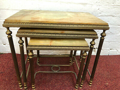 Brass and Onyx top nest of 3 table