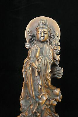 "Old Chinese Boxwood Hand Carving ""GuanYin"" Buddha Dragon Statue Sculpture"