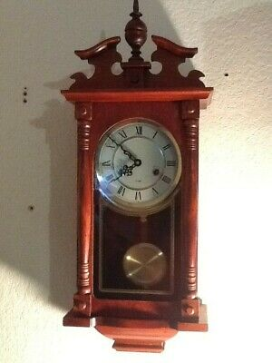 Vintage 31 Day Wind-Up Pendulum Chime Wall Clock