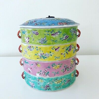 Vintage Chinese Porcelain Stacking Bowls Famille Rose MultiColor 4 Stacking Dish