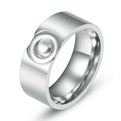 8MM 316L Stainless Steel Fashion Men/Women Rings Bright Silver Round Size 7-10