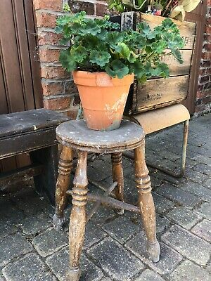 Antique Wooden Stool Milking Artist Kitchen Vintage Farmhouse Country