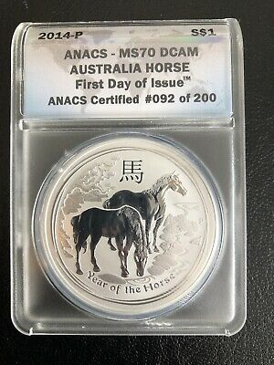 2014-P ANACS MS-70 DCAM 1oz .999 Silver Lunar Horse First Day Of Issue #92/200