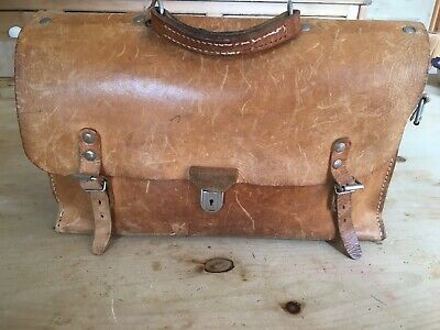 Vintage Real Genuine Leather Tan Satchel Brown Overnight Bag With Handle
