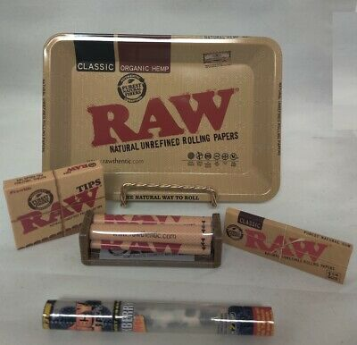 Mini RAW Rolling Tray Bundle Raw Roller Paper Pre-Roll Tips  & 1 Juicy Jay Cone