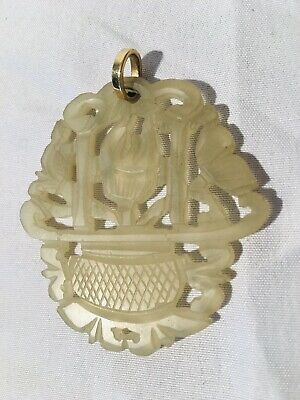 Antique Chinese Carved White Clear Jade Pierced Plaque Pendant - 19th C.