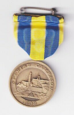 """Medal: USN Spanish Campaign, unnumbered wrap brooch with straight """"Service"""""""