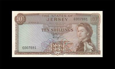 1963 STATES OF JERSEY QEII 10 SHILLINGS **Consecutive 2 of 2** (( GEM UNC ))