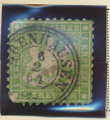 Wurttemberg Stamp Scott #34a, Used, Town/Date 1864 Cancel