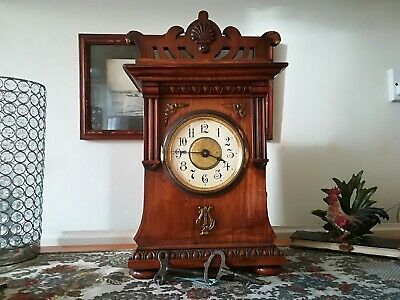 Rare Antique Junghans Musical Mantel Alarm Clock. 5 Musical Cylinders.
