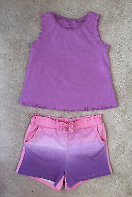 NEXT H&M girls outfit shorts vest top tshirt pink purple ombre tie dye 5 yrs 5-6