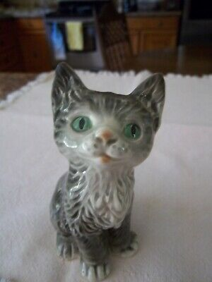 """Adorable GOEBEL Grey Cat Figurine /Marked West Germany  4.5"""" Tall"""