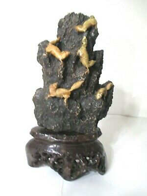 Antique Chinese Hand Carved Soapstone sculpture squirrels in the mountain.