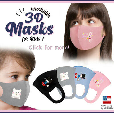 Kids 3 Pack Face Mask Cute Animal Reusable Washable Protection Cover Breathable