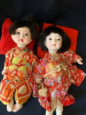 """Antique Japanese Ischimatsu Girl and Boy Doll Set 12"""" ,glass eyes, movable limbs"""