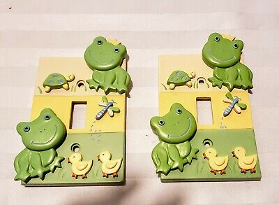 Pair of 3-D Frog Switch Plate Covers with Ducks and Turtles