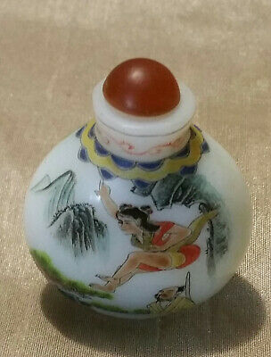2.5' Antique Chinese Porcelain Snuff Bottle Carved With agate Lid