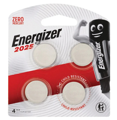 Energizer 2025 - 4 PACK 3V Lithium Coin/Button Cell Batteries  Zero Mercury