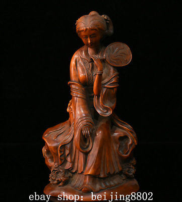 """7"""" Old Chinese Boxwood Wood Hand Carved Palace pretty girls beauty belle Statue"""