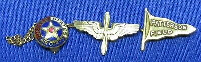 Pre-WWII Army Air Corps Wings & Patterson Field Pennant Home Front Pins Lot Of 3