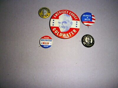5 Barry Goldwater 1964 Presidential Pinbacks Buttons