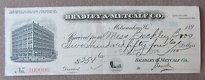 1898 Bradley & Metcalf Co Receipt Milwaukee WI Shoes +  Beckley Bros Elkton OR