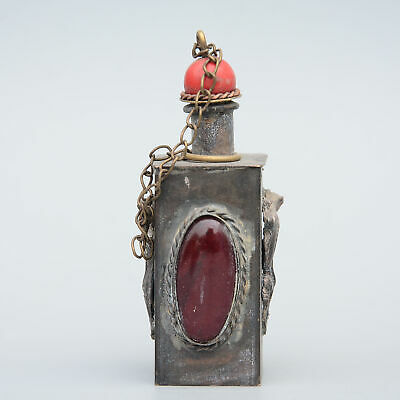 Collect Old Bronze Armour Agate Hand-Carved Myth Animal Auspicious Snuff Bottle