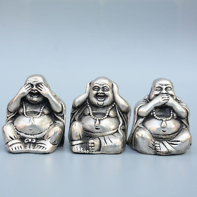 Collect China Old Miao Silver Hand-Carved Three Happy Buddha Auspicious Statue