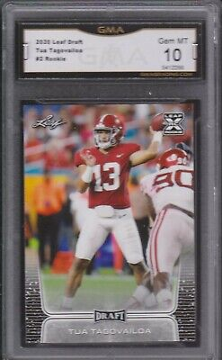 2020 Leaf Draft Football #2 TUA TAGOVAILOA ROOKIE RC GMA 10 GEM MINT - DOLPHINS