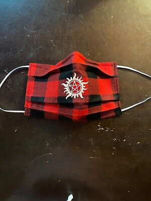 Supernatural plaid flannel face Mask Handmade Washable Reusable wire nose Reuse