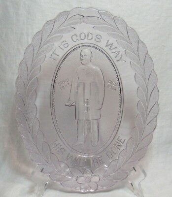 Antique Oval Eapg Glass Commemorative Plate President William Mckinley Purple!