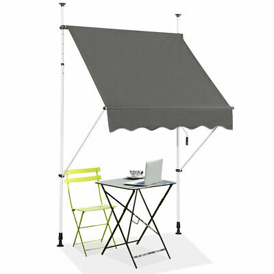Manual Awning Canopy Outdoor Patio Garden Sun Shade Retractable Shelter Gray