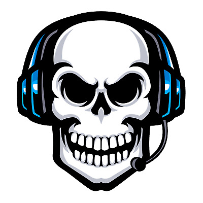 """Skull with Headset"" Sticker **FREE SHIPPING**"