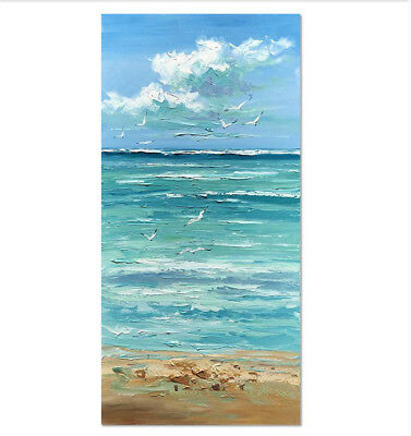 Large Hand-painted Scenery oil painting Coast on canvas Unframed 60x150cm