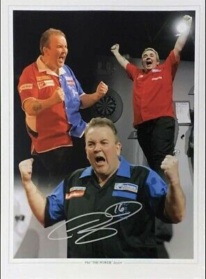 """PHIL """"THE POWER"""" TAYLOR WORLD CHAMPION SIGNED 16""""x12"""" DARTS PHOTO SEE PROOF COA"""