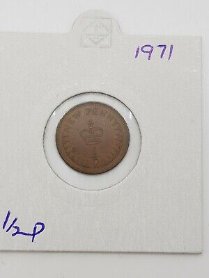1971 - 1/2p NEW PENNY COIN - ELIZABETH II - out of circulation