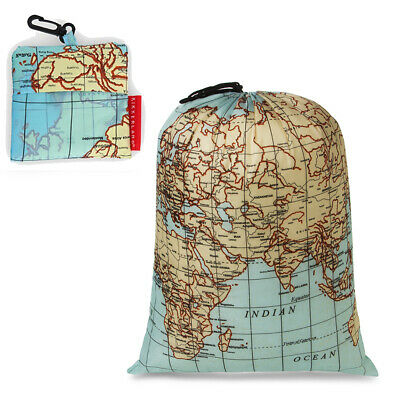 Kikkerland World Map Design Travel Size Laundry Bag Polyester Built-in Pouch