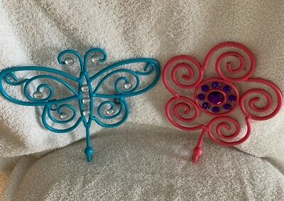 butterfly and flower jeweled hooks