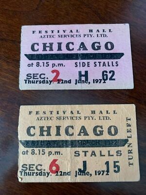 TWO CHICAGO the band Concert Ticket stubs Australia 1972  Lamm, Kath, Cetera