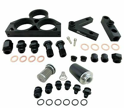 Twin 044 60mm Fuel Pumps V Mount Bracket Kit & 58mm Hi FLow Filter 100 Micron