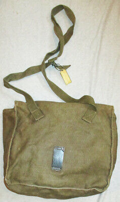 Vintage Hand Made Khaki Military Style Canvas Shoulder Bag Leather Details