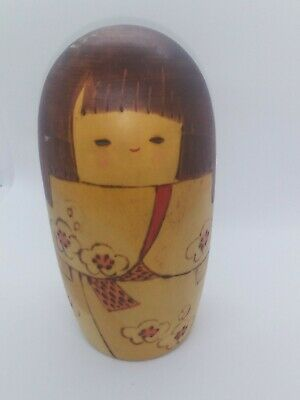 "KOKESHI Japanese Doll vintage antique Japan wooden used 51/2"" tall"