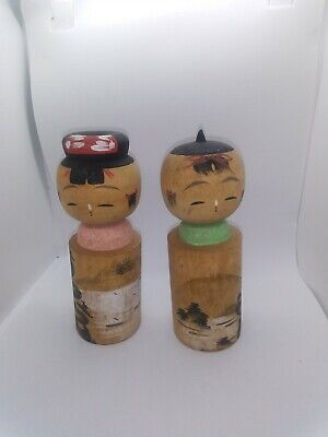 KOKESHI Japanese Dolls vintage antique wooden used 6 inch